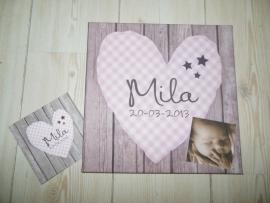 Geboortekaartje op canvas / schilderijtje met geboortekaartje