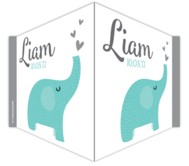 V-bord /raambord met naam en olifantje