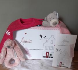 gevuld kraamkoffertje met geboortekaartje jongen-meisje