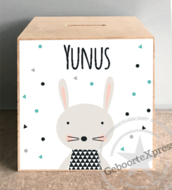 houten spaarpot met naam (en datum)trendy konijntje-jongen