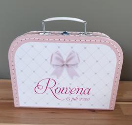 Koffertje met naam *Strikje meisje* diverse kleuren