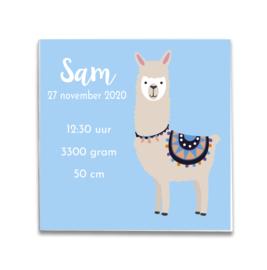 Geboortetegeltje met Alpaca blauw