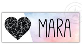 Kunststof naambordje  geboorte hart tweekleurig