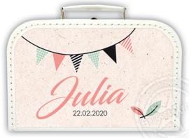 Koffertje met naam *Slinger meisje* Diverse kleuren koffertjes en bedrukking
