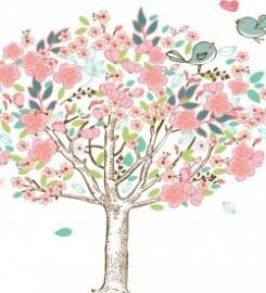 Muursticker bloemen boom vogeltjes