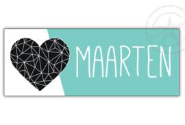 Kunststof naambordje  geboorte hart mint