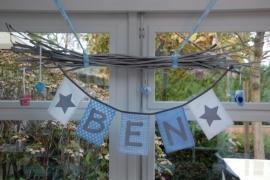 vlaggenlijn jongen/ naamslinger geboorte sterretjes