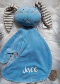 Superzacht knuffeldoekje blauw konijn (met naam)