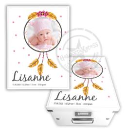 Geboortedoos met foto dreamcatcher - roze