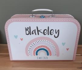 Koffertje met naam *regenboog*  roze diverse kleuren