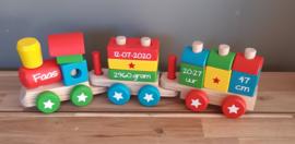 Vrolijk gekleurde houten blokkentrein  met of zonder naam