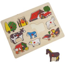 Houten puzzel hooiberg met knopje (met naam)