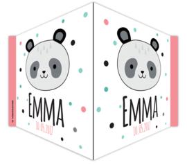V-bord /raambord met naam en panda