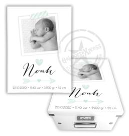 Geboortedoos met foto, hartje en pijl - mint