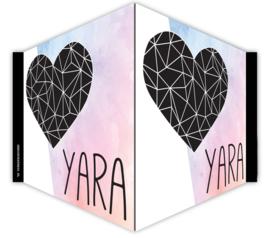 V-bord /raambord met naam en hart- pink-blue colour