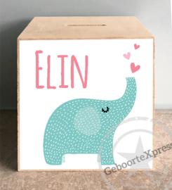 houten spaarpot met naam (en datum) olifant meisje