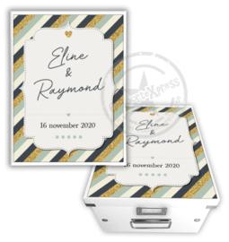 Herinneringsdoos voor bruiloft 'stripes'
