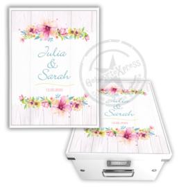 Herinneringsdoos voor bruiloft 'bloemenguirlande'