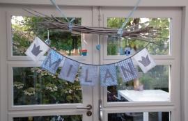 vlaggenlijn jongen/naamslinger geboorte blauw-grijs (diverse applicaties}