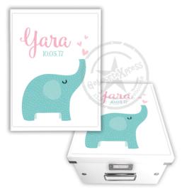 Geboortedoos met olifantje en naam - meisje