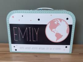 Koffertje met naam *Wereldbol meisje* diverse kleuren