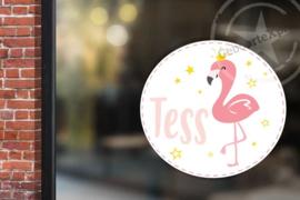 Raamsticker met naam 'flamingo' roze