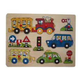 Houten puzzel vervoer plastic knop (met naam)