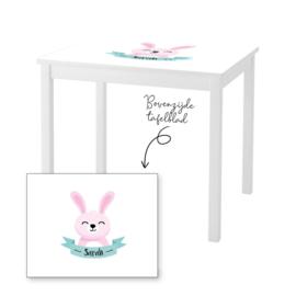 1 of 2 stoelen en tafeltje met naam en konijntje meisje