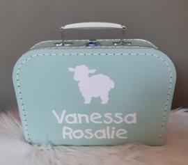 Koffertje met naam *Schaapje* diverse kleuren