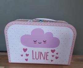 Koffertje met naam *Wolkje en hartjes meisje* diverse kleuren