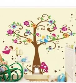 Muursticker bloemen boom elfjes paddenstoelen deurtje