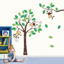 Muursticker boom met aapjes