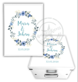 Herinneringsdoos voor bruiloft 'bloemenkrans'