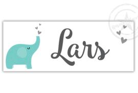Kunststof naambordje  geboorte olifant jongen