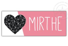 Kunststof naambordje  geboorte hart roze