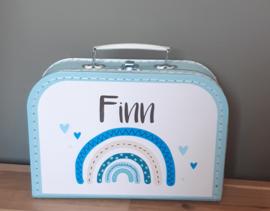 Koffertje met naam *regenboog*  blauw diverse kleuren
