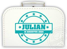 Koffertje met naam *Stempel sterren* Diverse kleuren koffertjes en bedrukking