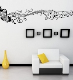 Muursticker vlinder muzieknoten