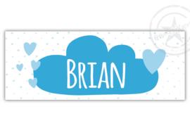 Kunststof naambordje  geboorte blauwe wolk met hartjes