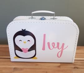 Koffertje met naam *Pinguin meisje* diverse kleuren