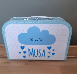 Koffertje met naam *Wolkje en hartjes jongen* diverse kleuren