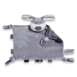 Superzacht knuffeldoekje hond (met naam) grijs