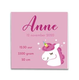 Geboortetegeltje met Unicorn roze