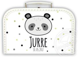 Koffertje met naam *Panda jongen* Diverse kleuren koffertjes en bedrukking