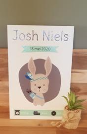 Persoonlijk geboortebord met geboortegegevens en konijn jongen