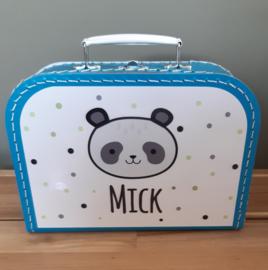 Koffertje met naam *Panda jongen* diverse kleuren