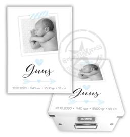 Geboortedoos met foto, hartje en pijl- blauw