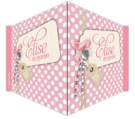 V-bord / raambord 'roze dots'  meisje met naam