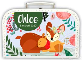 Koffertje met naam *Wood 1* Diverse kleuren koffertjes en bedrukking