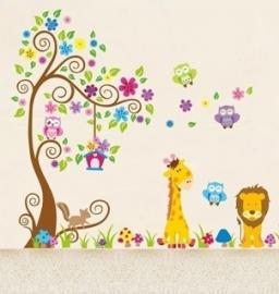 Muursticker boom - leeuw - giraffe- uiltjes